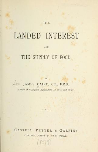 The landed interest and the supply of food.