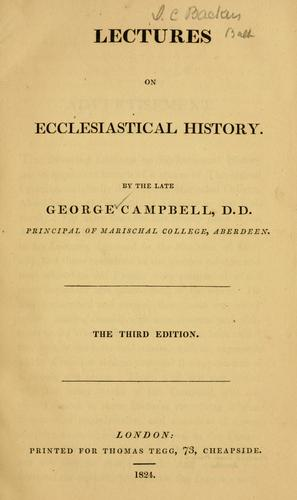 Lectures on ecclesiastical history.