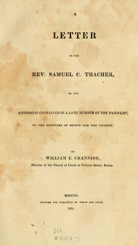 Download A letter to the Rev. Samuel C. Thacher