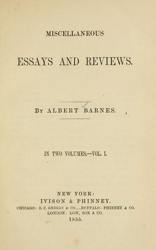 Miscellaneous essays and reviews.