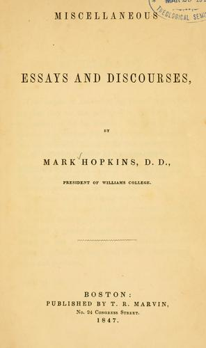 Download Miscellaneous essays and discourses.