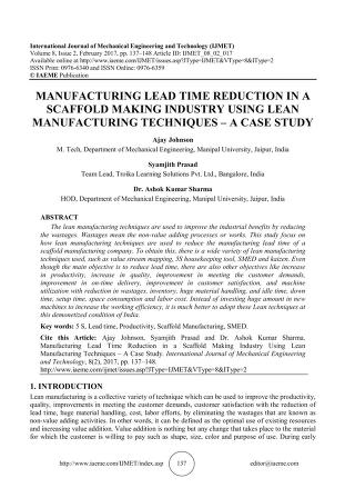 MANUFACTURING LEAD TIME REDUCTION IN A SCAFFOLD MAKING INDUSTRY ...
