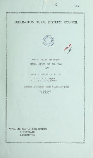 Cover of: [Report 1963] by Bridlington (England). Rural District Council. nb2013014631