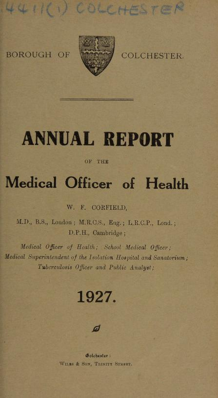 [Report 1927] by Colchester (England). Borough Council