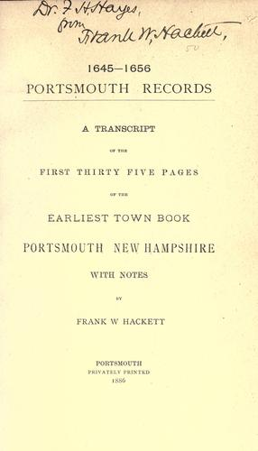 1645-1656. Portsmouth records by Portsmouth (N.H.)
