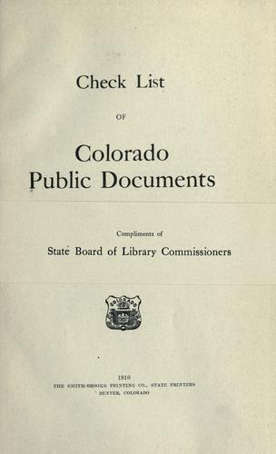 Check list of Colorado public documents by Colorado. State Board of Library Commissioners.