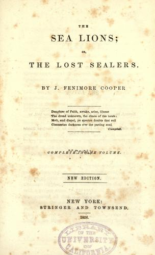 The sea lions by James Fenimore Cooper