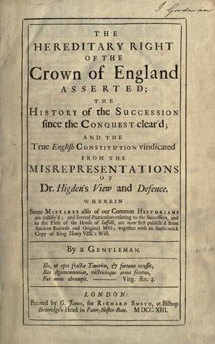 The present constitution, and the Protestant succession vindicated
