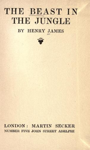The beast in the jungle by Henry James Jr.