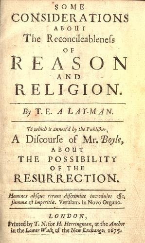 Some considerations about the reconcileableness of reason and religion by