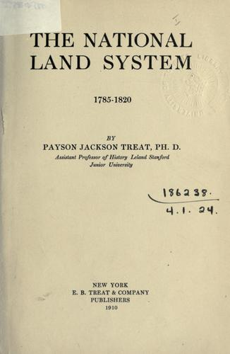 The national land system, 1785-1820.