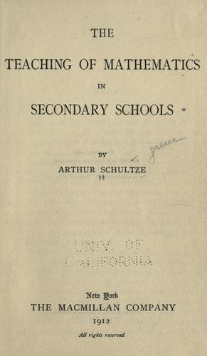 The teaching of mathematics in secondary schools