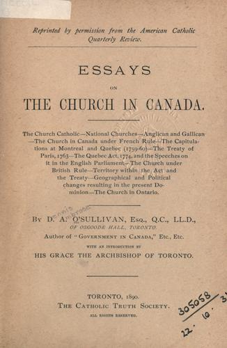 Essays on the Church in Canada by D. A. O'Sullivan