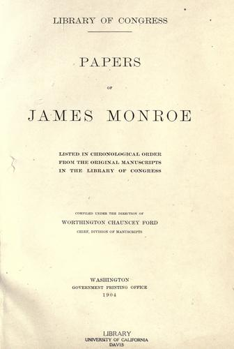 Papers of James Monroe by