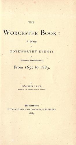 The Worcester book by Rice, Franklin P.