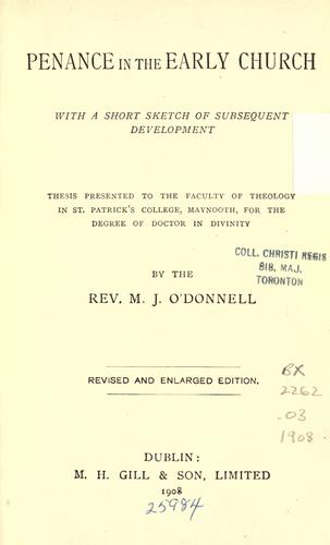 Penance in the early church by O'Donnell, Michael J.