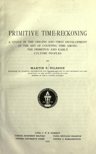 Primitive time-reckoning by Nilsson, Martin P.