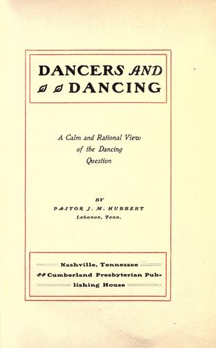 Dancers and dancing by J. M. Hubbert