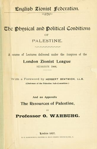The Physical and political conditions of Palestine by