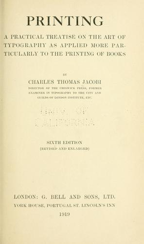 Printing by Charles Thomas Jacobi