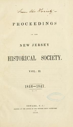 Proceedings of the New Jersey Historical Society by New Jersey Historical Society.