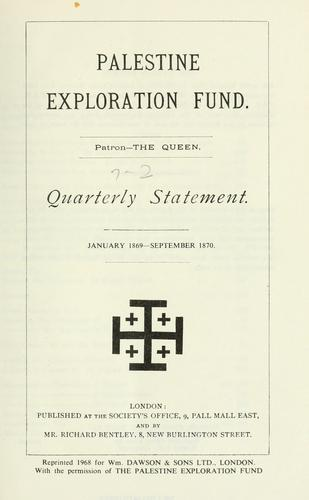 Quarterly statement - Palestine Exploration Fund. by Palestine Exploration Fund.