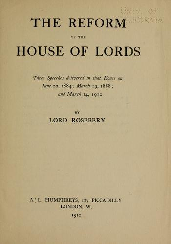 The reform of the House of lords