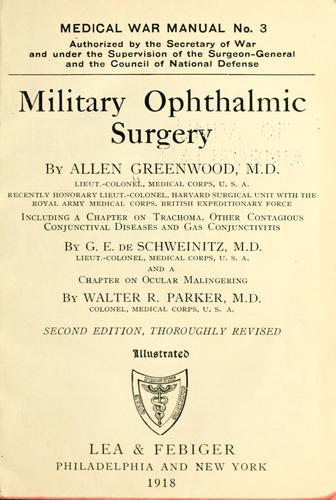 Military ophthalmic surgery by Allen Greenwood