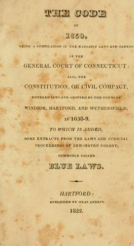 The Code of 1650 by Connecticut.