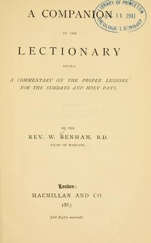 A companion to the lectionary by William Benham