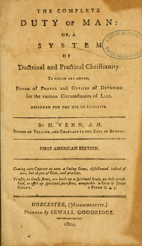 The Complete duty of man, or, a System of doctrinal and practical Christianity