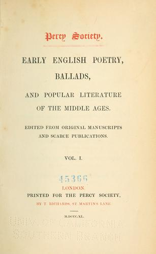Early English poetry, ballads, and popular literature of the Middle Ages by Percy Society
