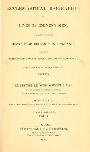 Ecclesiastical biography by Wordsworth, Christopher