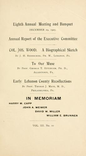 Eighth annual meeting and banquet by Lebanon County Historical Society (Lebanon County, Pa.)