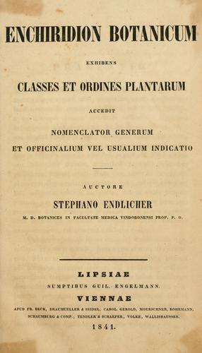 Enchiridion botanicum by Stephan Friedrich Ladislaus Endlicher