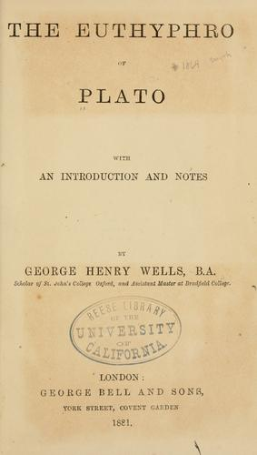 The Euthyphro of Plato by Plato