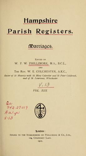 Hampshire parish registers. Marriages by Phillimore, W. P. W.