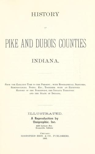 History of Pike and Dubois counties, Indiana by