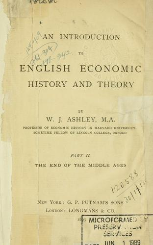 An introduction to English economic history and theory.