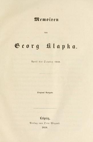 Memoiren von Georg Klapka, April bis October 1849 by György Klapka