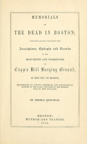Memorials of the dead in Boston by Thomas Bridgman